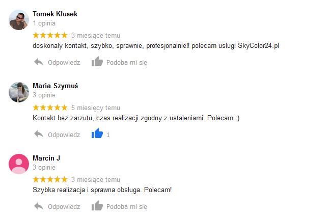 Opinie z wizytówki Google