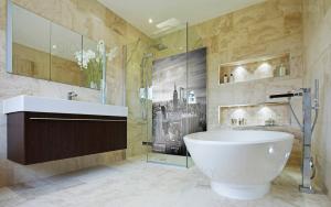 Panel szklany z grafiką w łazience