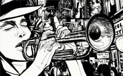 Muzyka, jazz, trąbka, komiks